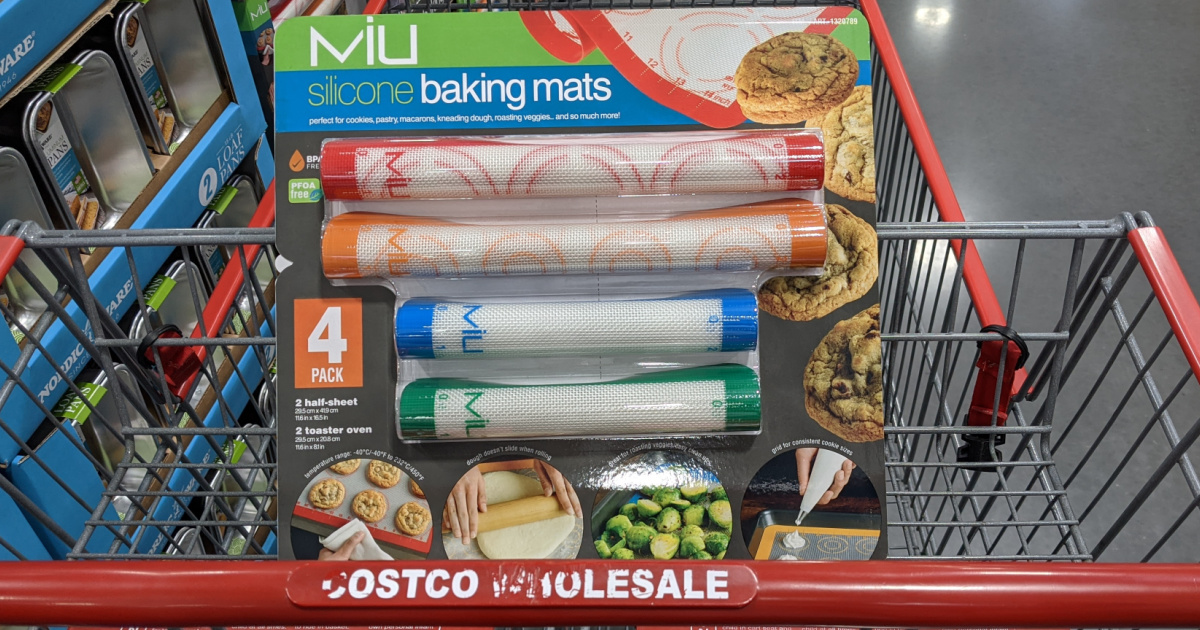 grocery cart with package of baking mats