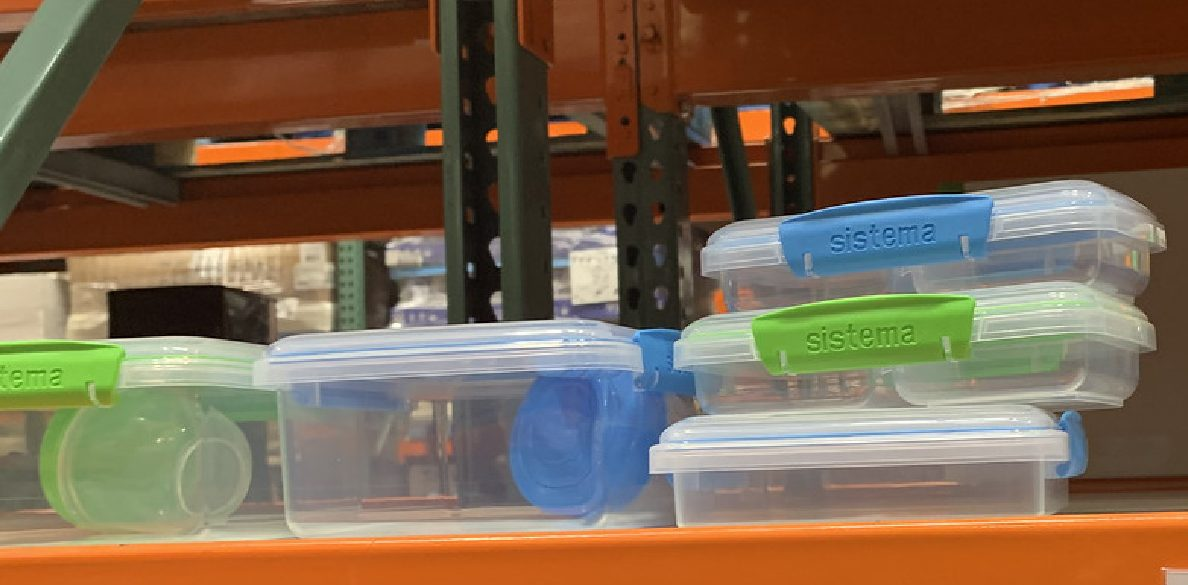 store shelf with display of plastic storage containers