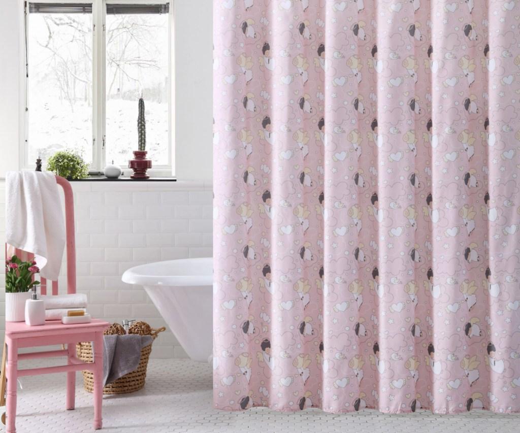 sleepy angel shower curtain in bathroom