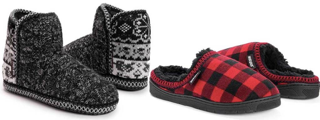 pairs of muk luk slippers in gray and plaid