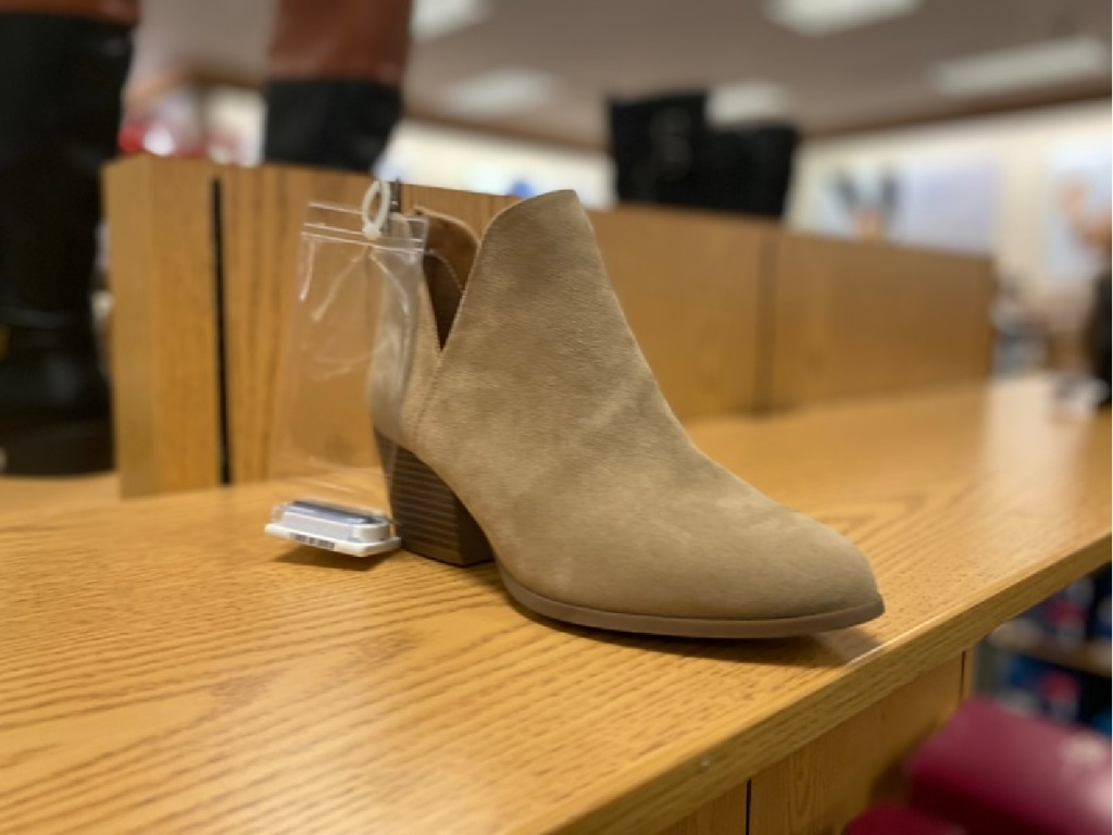 tan bootie on display in store