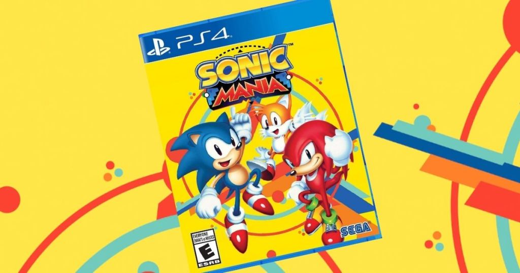 sonic mania game with yellow background