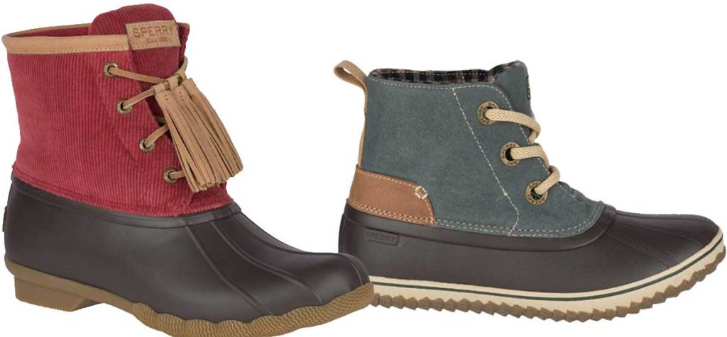 women's duck boots in red and blue