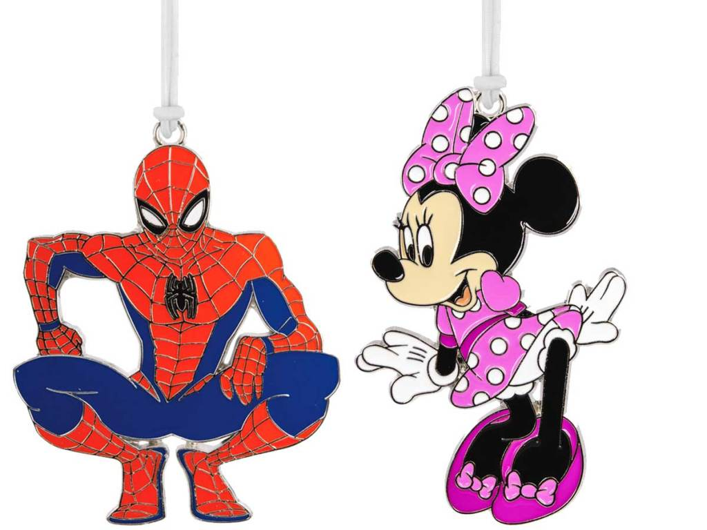 ornaments spiderman and minnie mouse