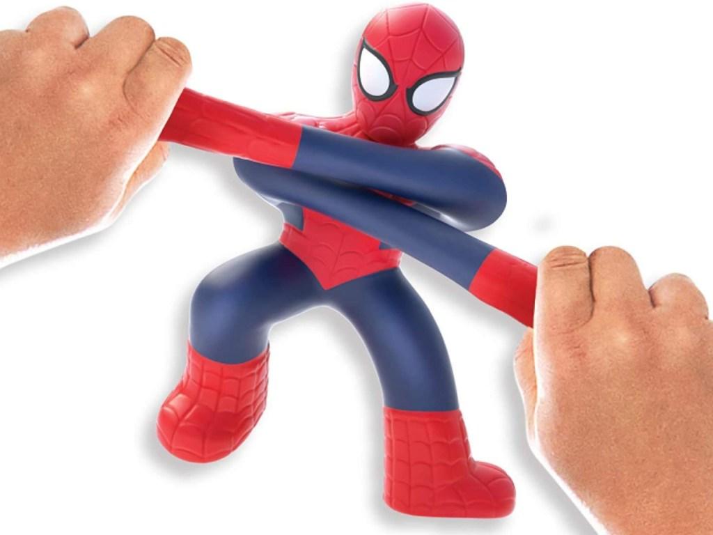 marvel spiderman goo jit su toy in hands