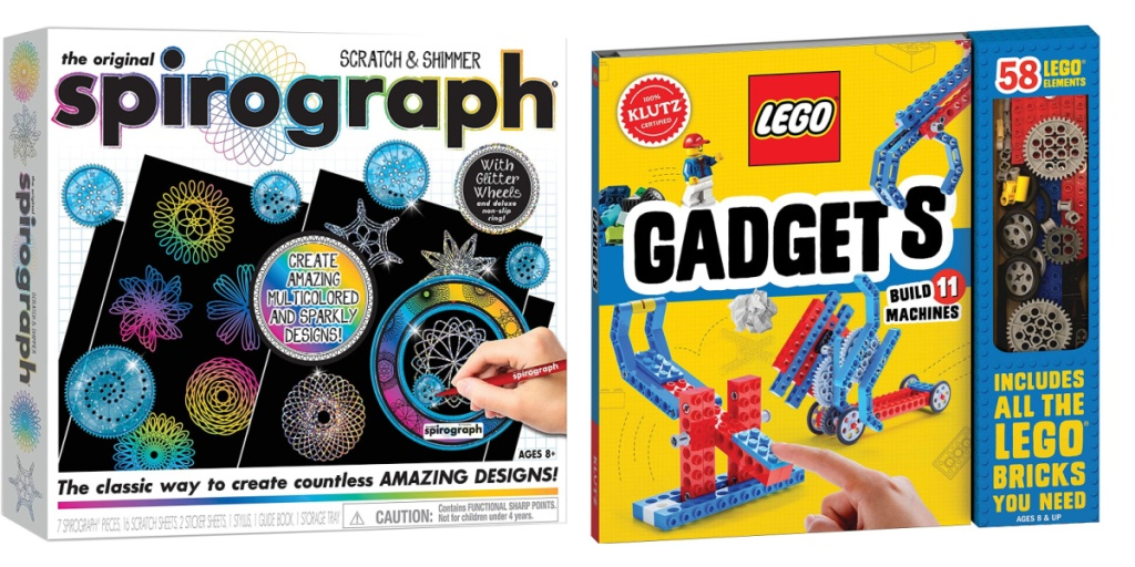 spirograph kit and klutz LEGO kit