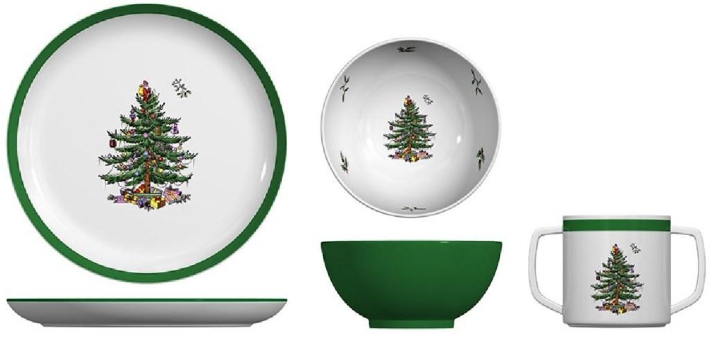 3 ceramic dinnerware pieces with Christmas theme