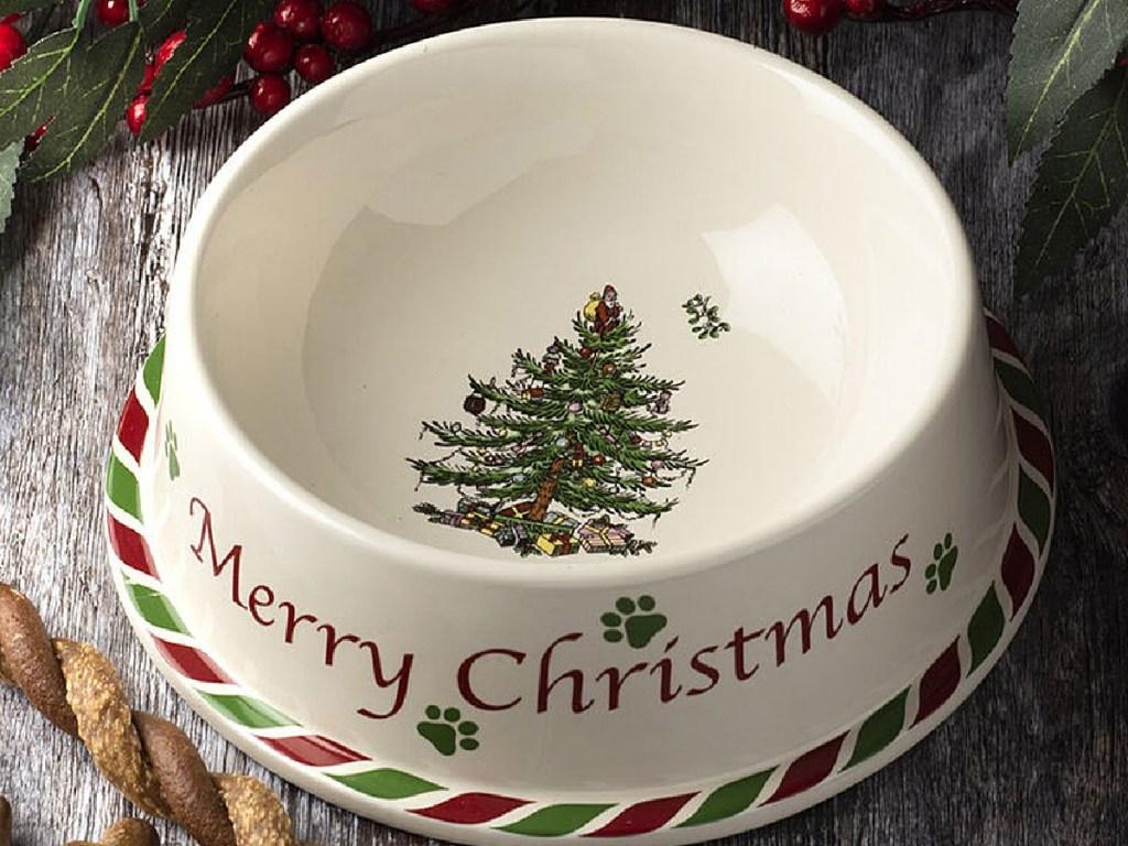 ceramic pet bowl with Christmas themes