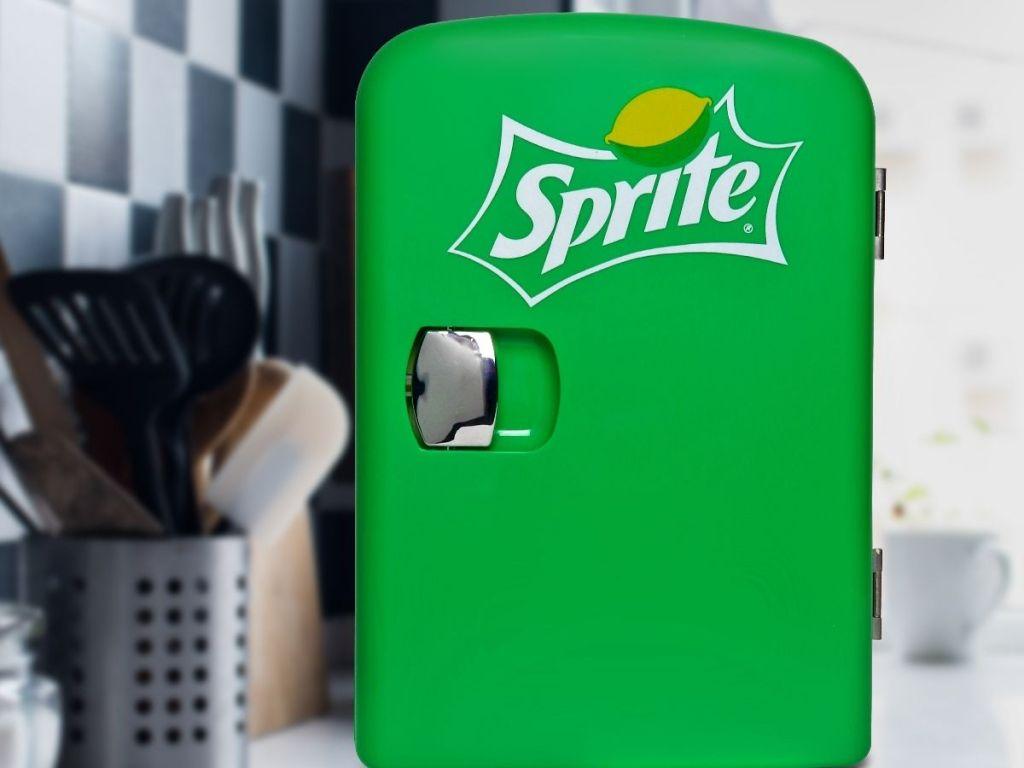 Sprite mini fridge on kitchen counter