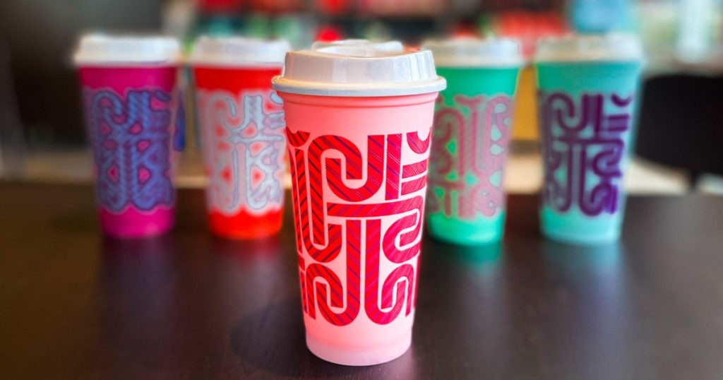 5 color changing cups from Starbucks