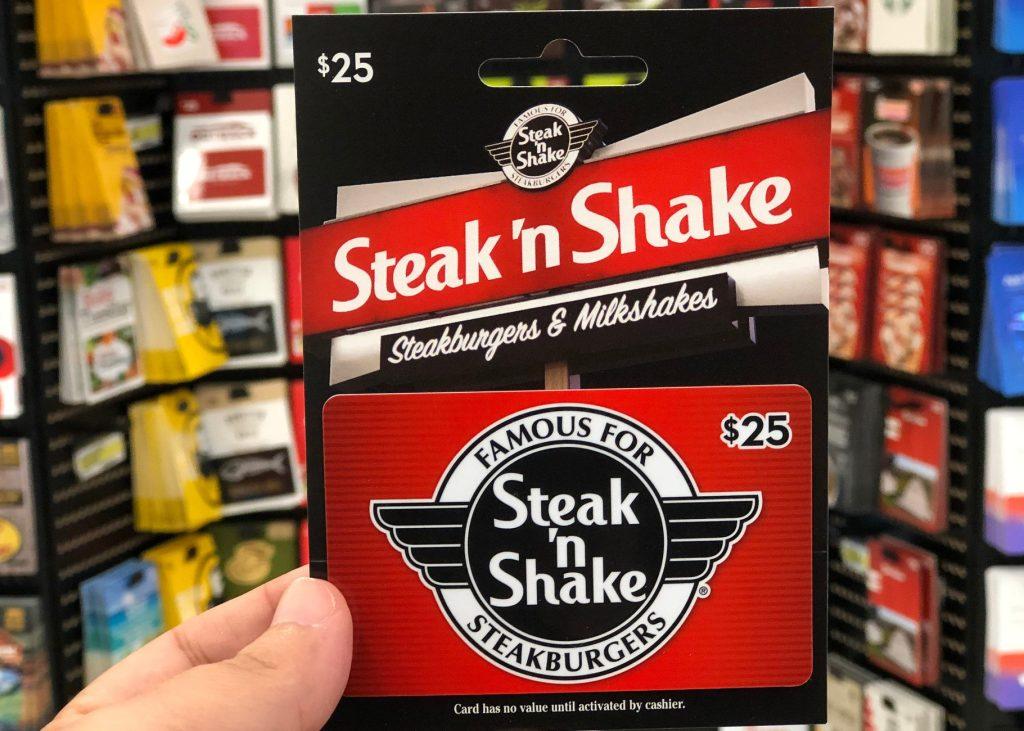 steak n shake gift card in hand in store