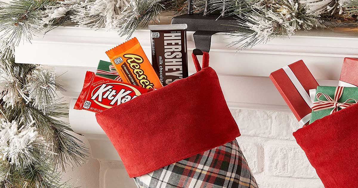 stocking full of candy bars