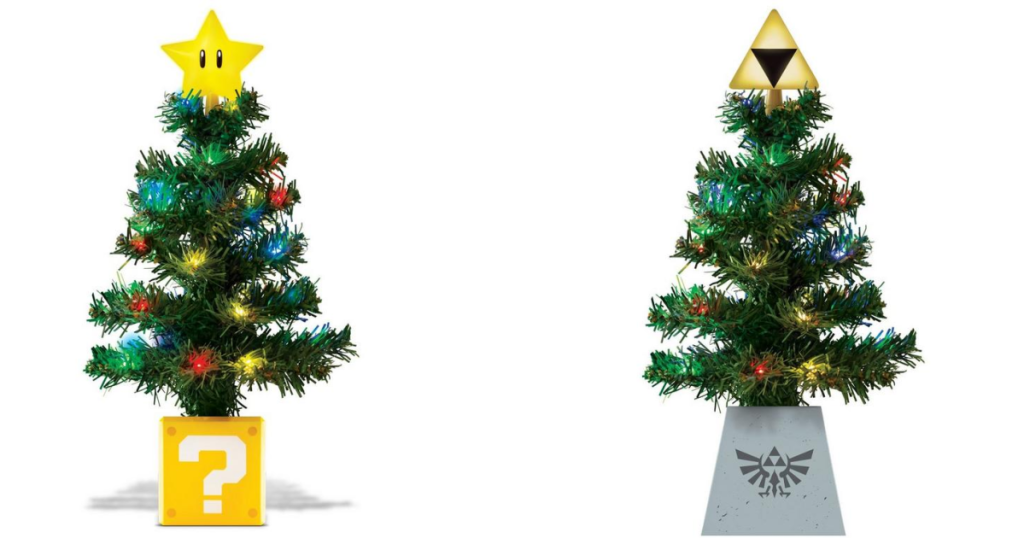 2 tree toppers that look like little Christmas trees