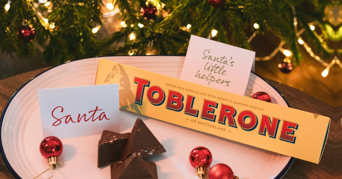 toblerone chocolate bar on a plate for Santa