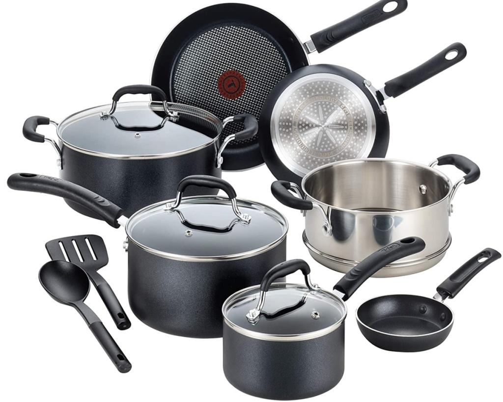 t-fal 12-piece cookware showing all pots and pans