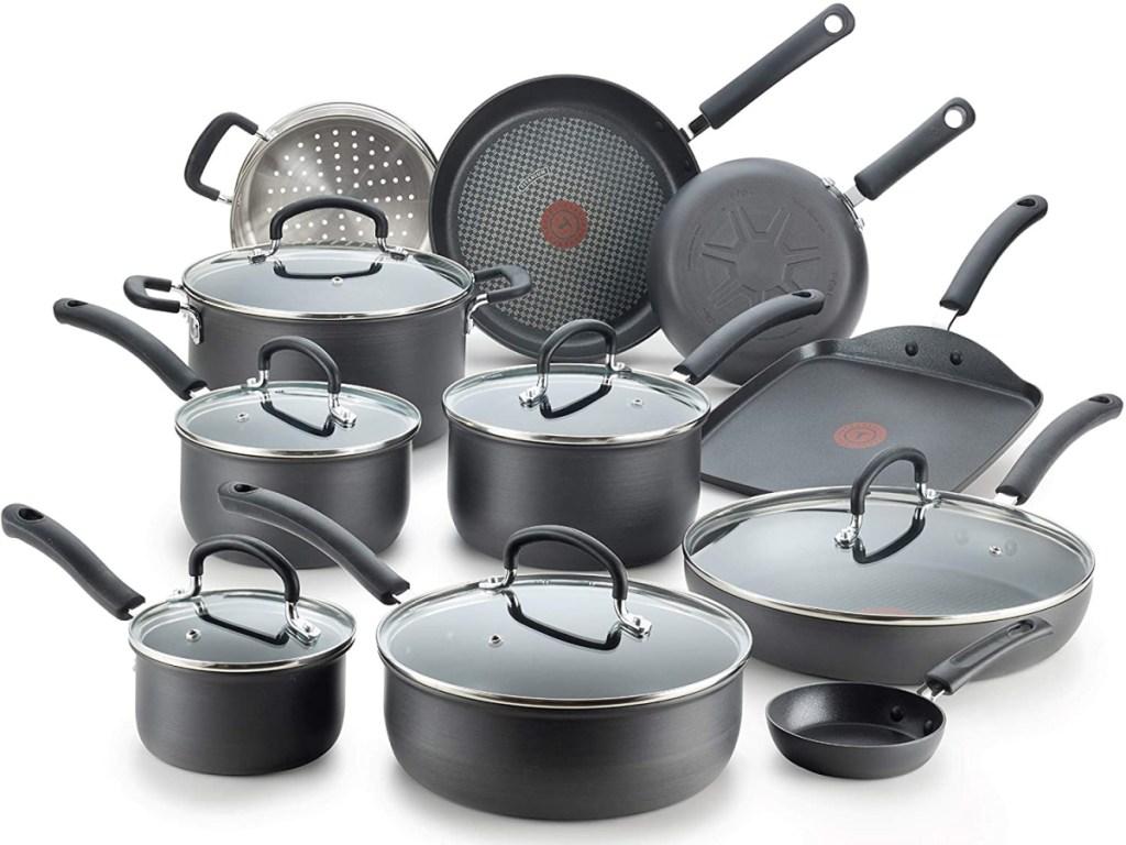 t-fal 17-piece set all pots and pans shown