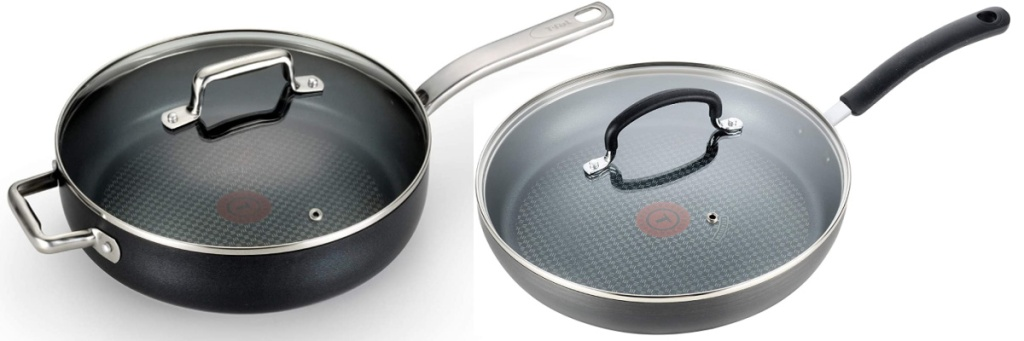 two t-fal pans with lids