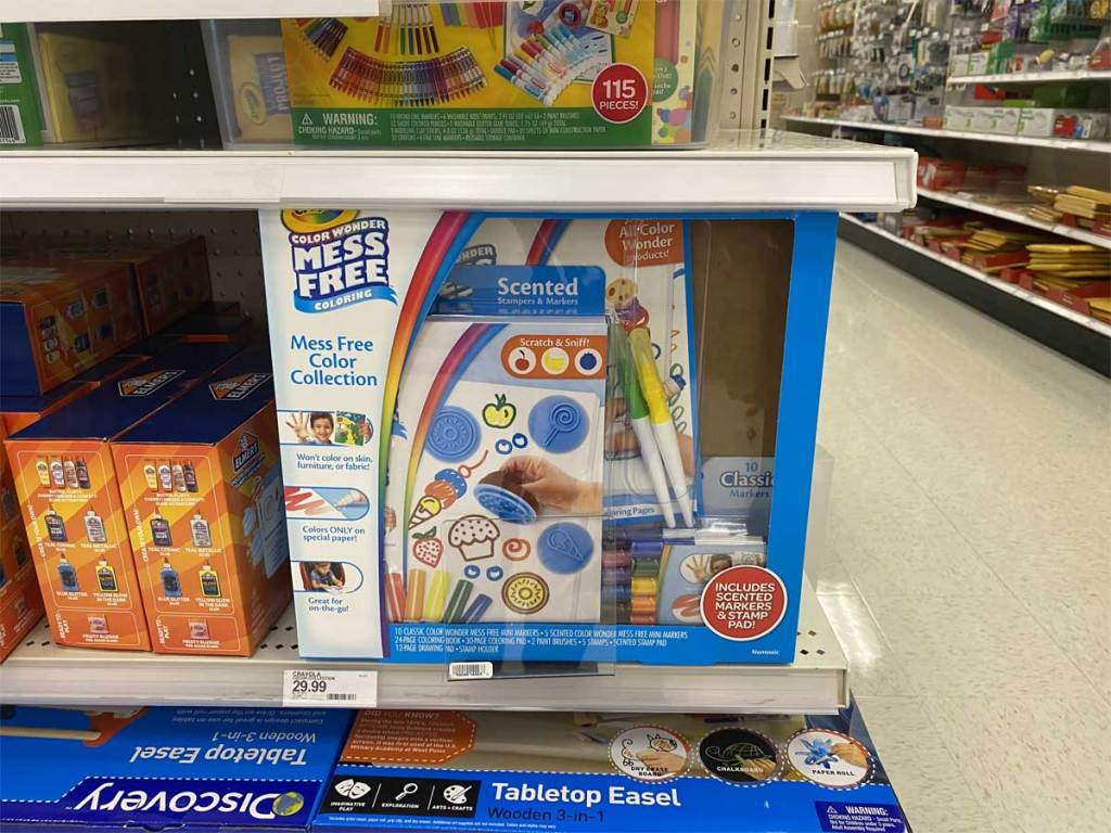 crayola mess free kit in store on shelf