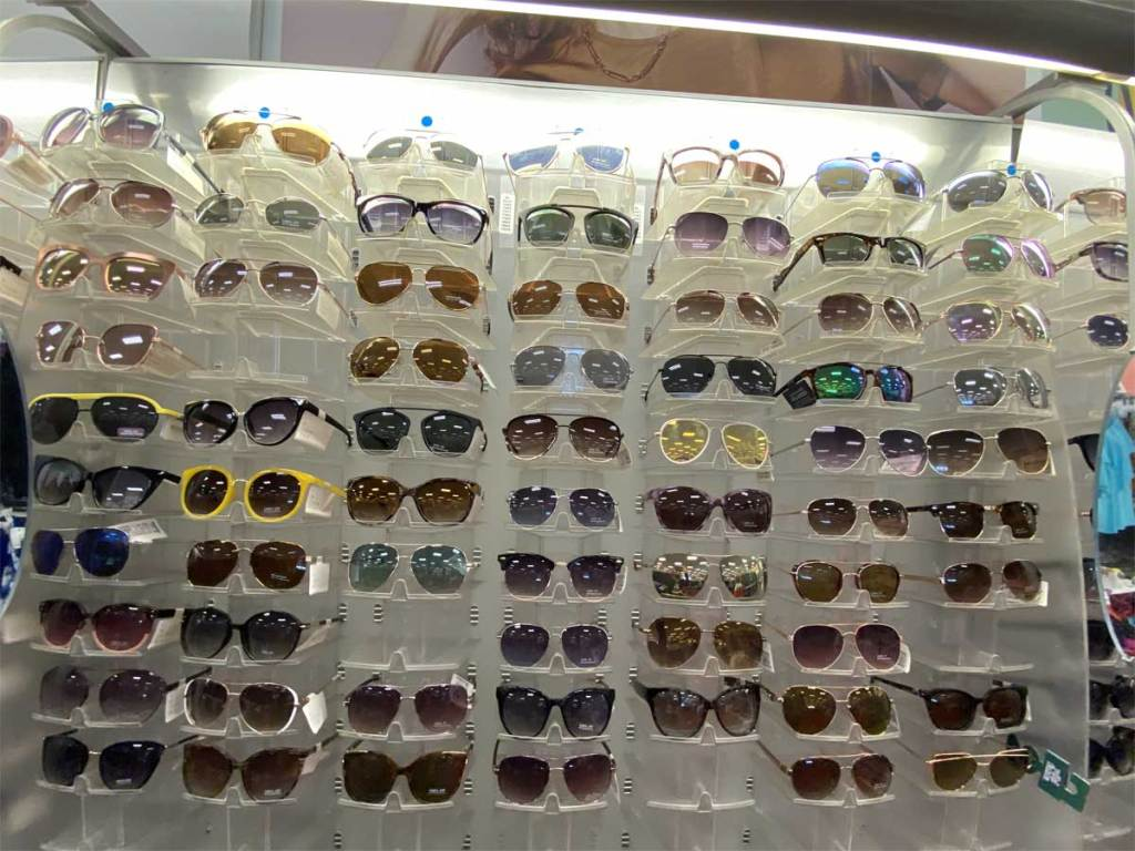 women's sunglasses on display in store