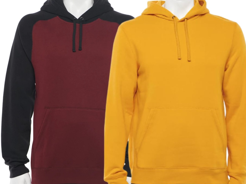 2 men's hoodies in different colors on white background