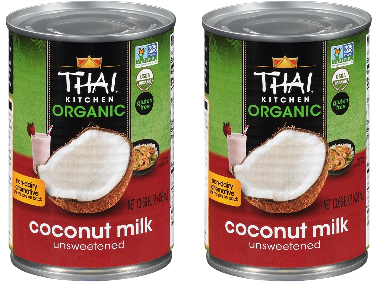 stock images of two cans of thai kitchen unsweetened coconut milk