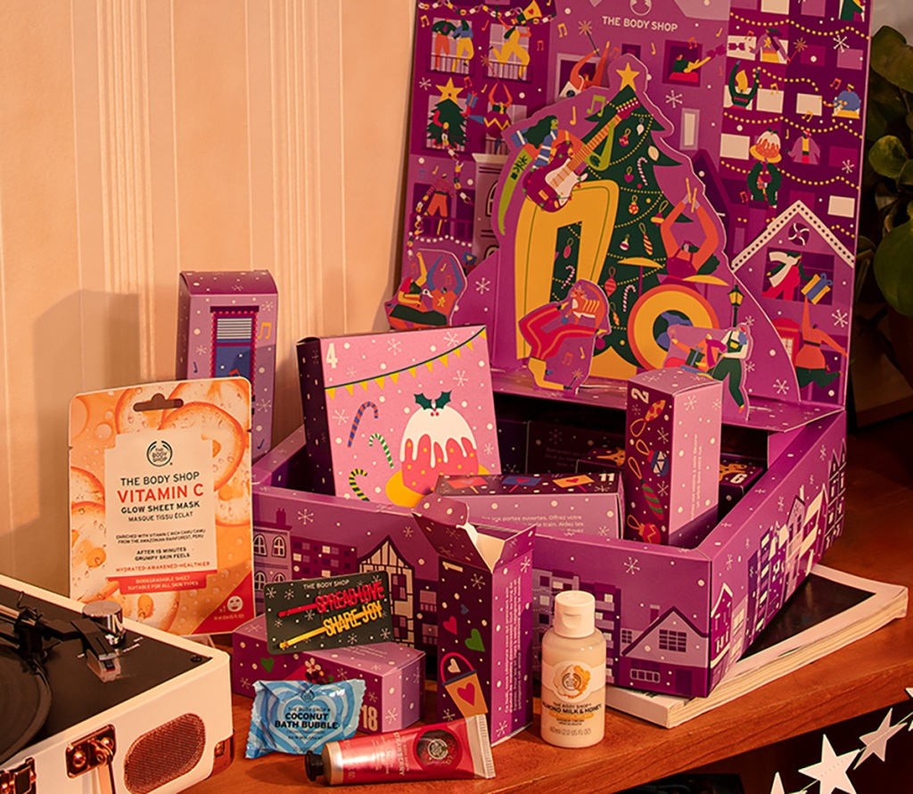 beauty products in the body shop advent calendar