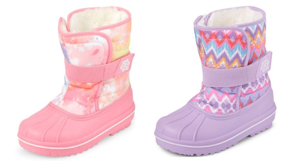 girls pink and purple winter boots