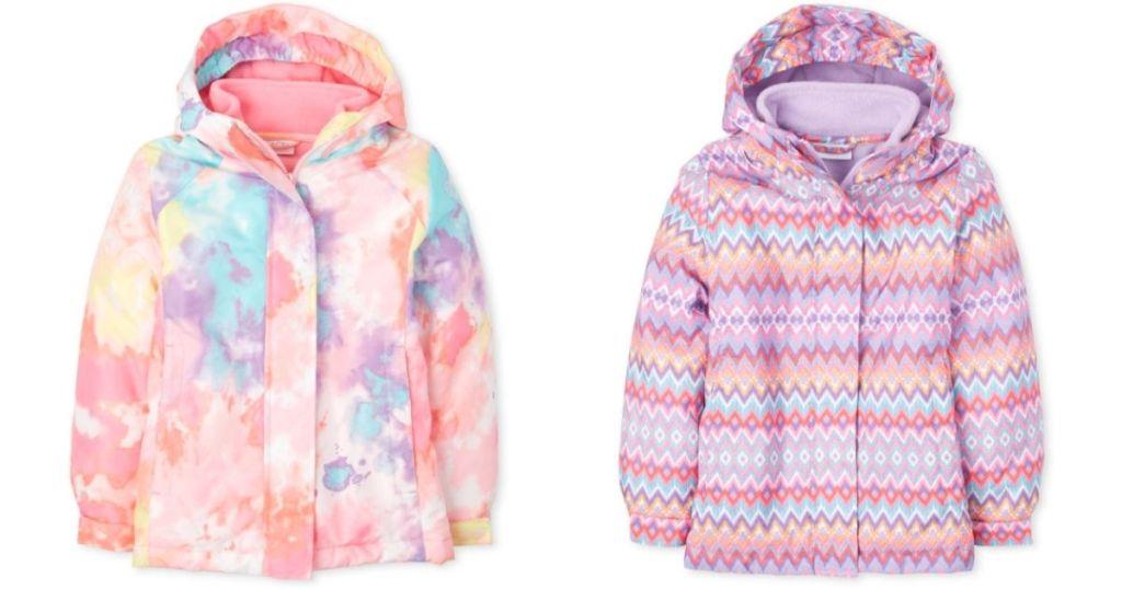 girls pink tie-dye or chevron winter jackets