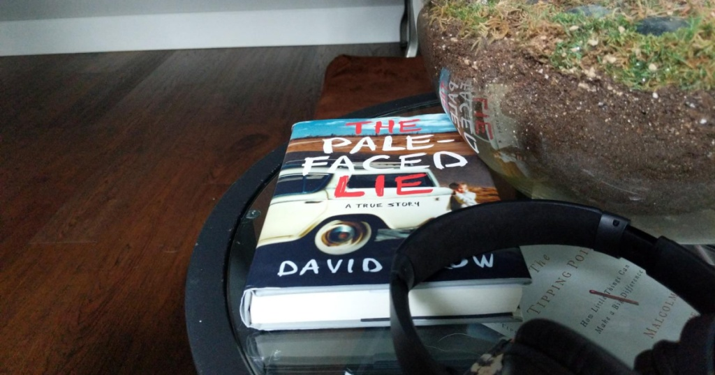 the pale faced lie book near plant and headphone