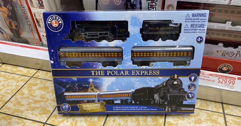 the polar express train in store at ALDI