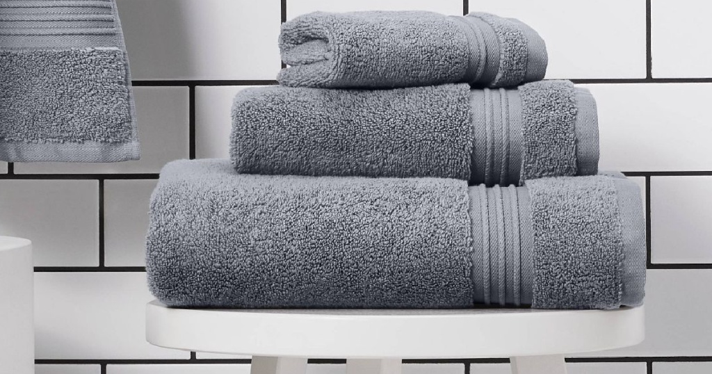 threshold bath towels stacked