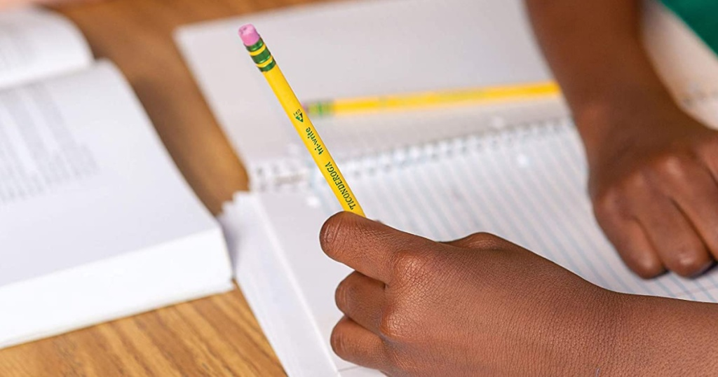 ticonderoga tri write pencils in hand