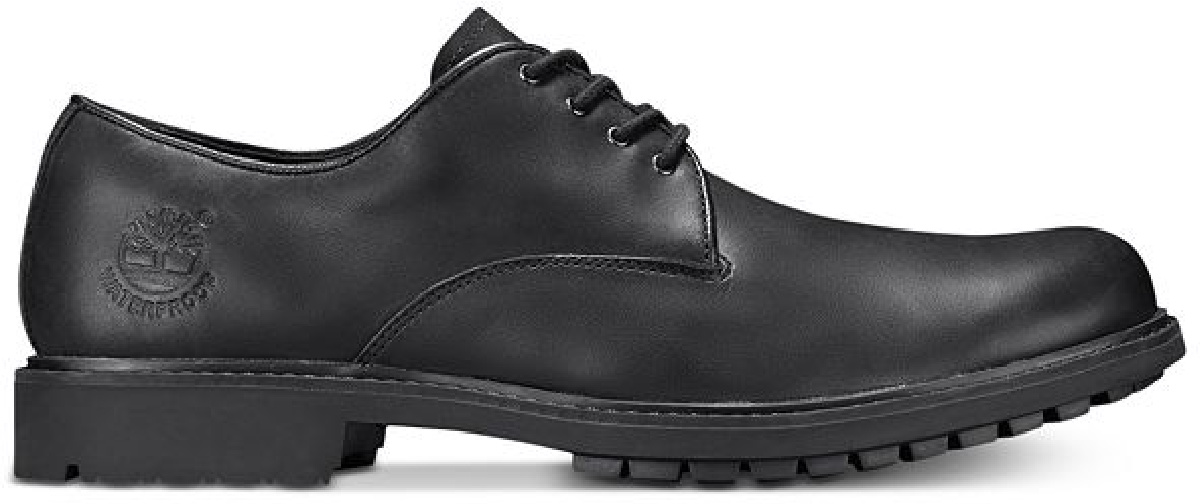 black Timberlands lace us dress shoes
