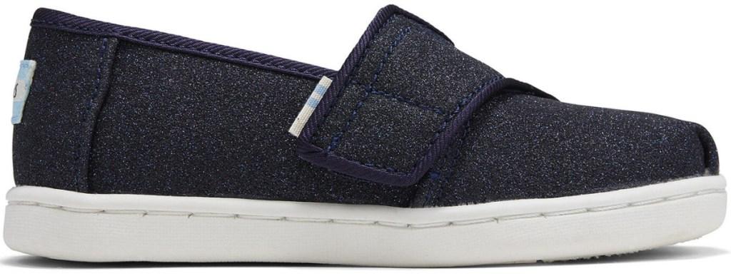 black glitter TOMS shoes