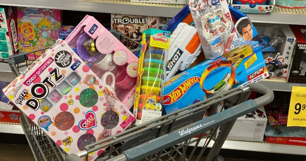 Walgreens cart filled with toys