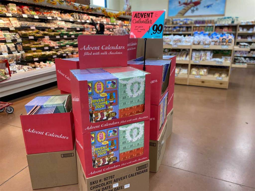 Trader Joe's Advent Calendars with chocolate available in-stores