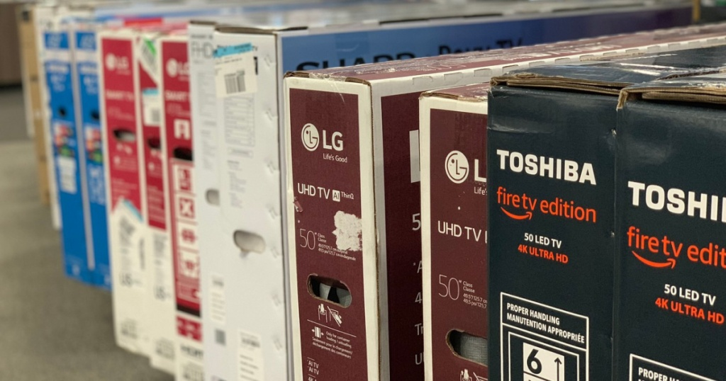 boxes of TVs in store