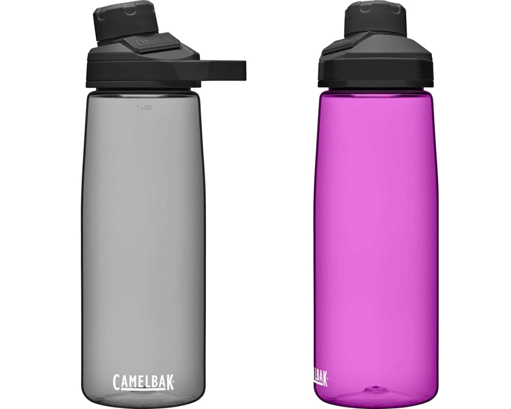 two camelbak mag water bottles in gray and purple