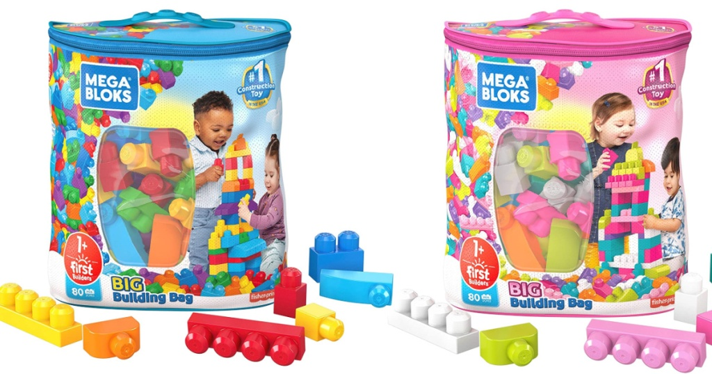 two mega bloks bags in blue or pink