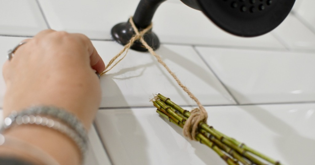tying eucalyptus bouquet to shower head