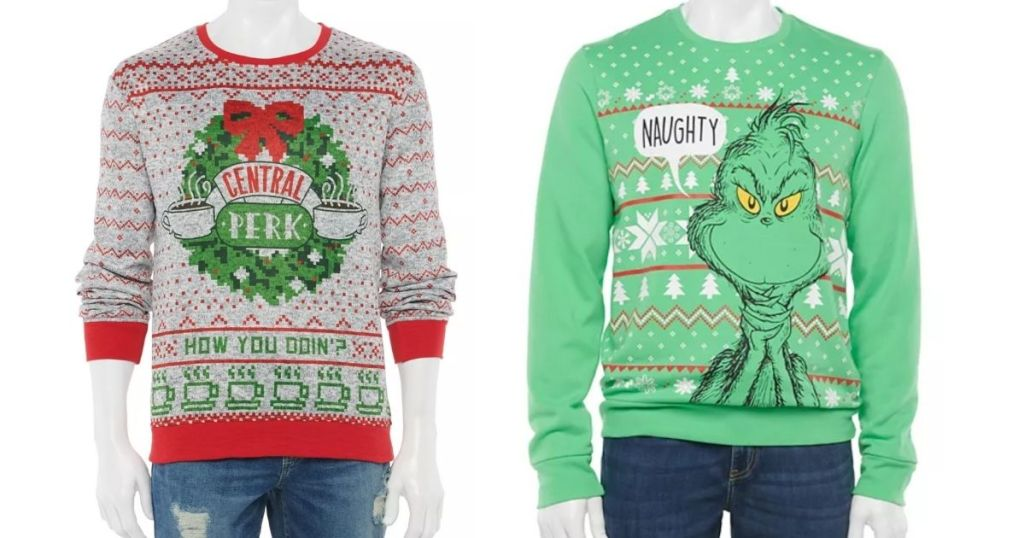 Central Perk and Grinch Ugly Christmas sweaters