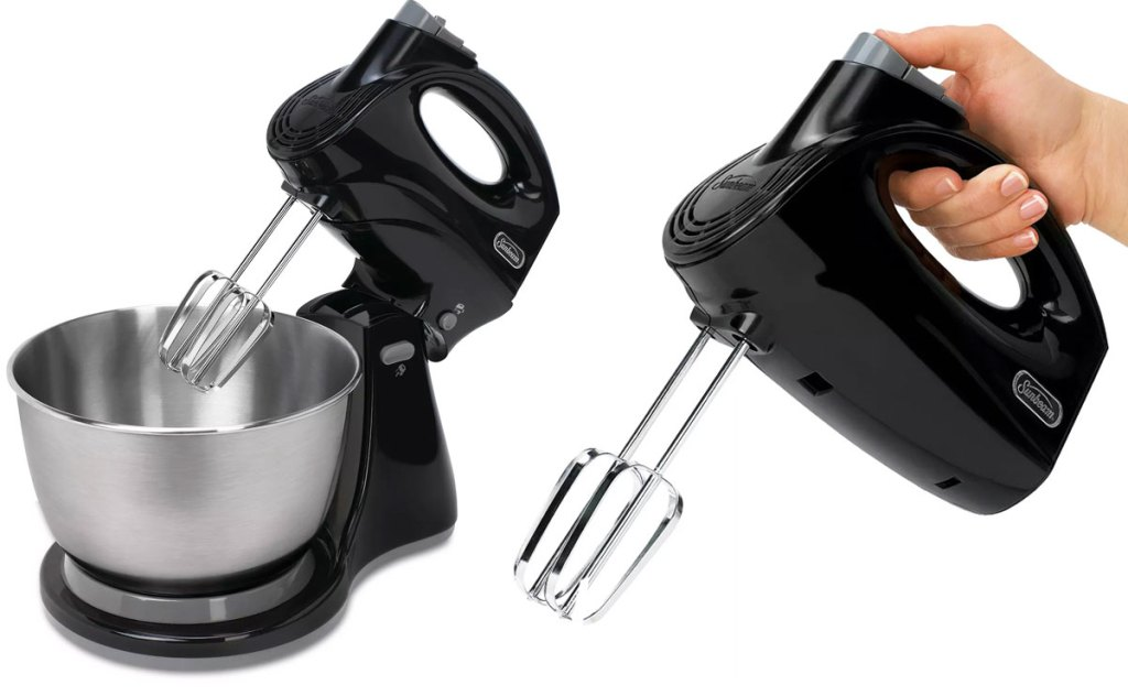 black sunbeam stand mixer with stainless steel bowl and hand holding mixer as a hand mixer with beaters