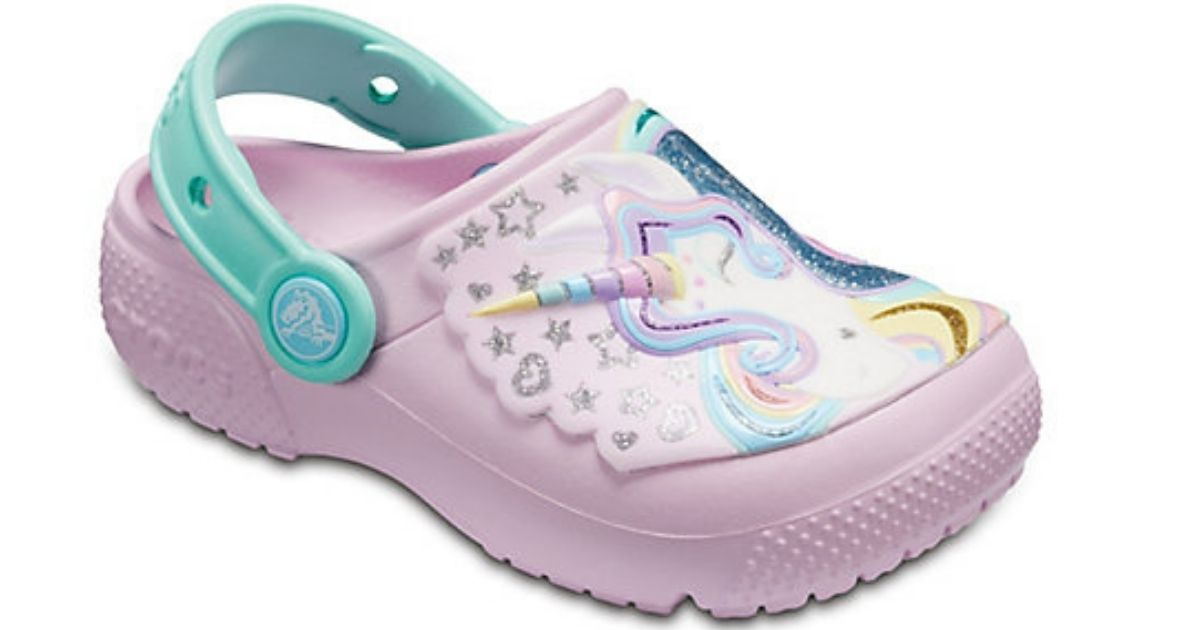 pink themed unicorn crocs