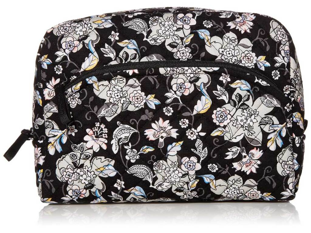 cosmetic bag in black and white floral print