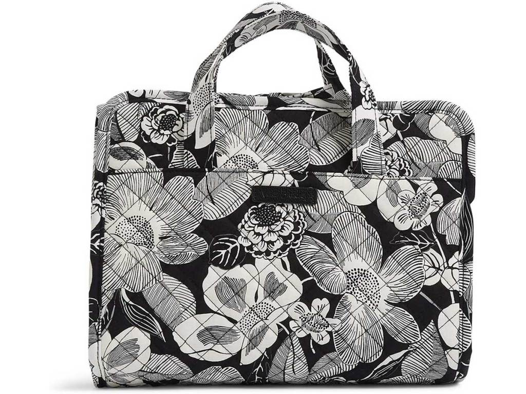 organizer bag in black and white floral print