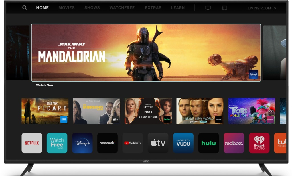 large tv with apps showing