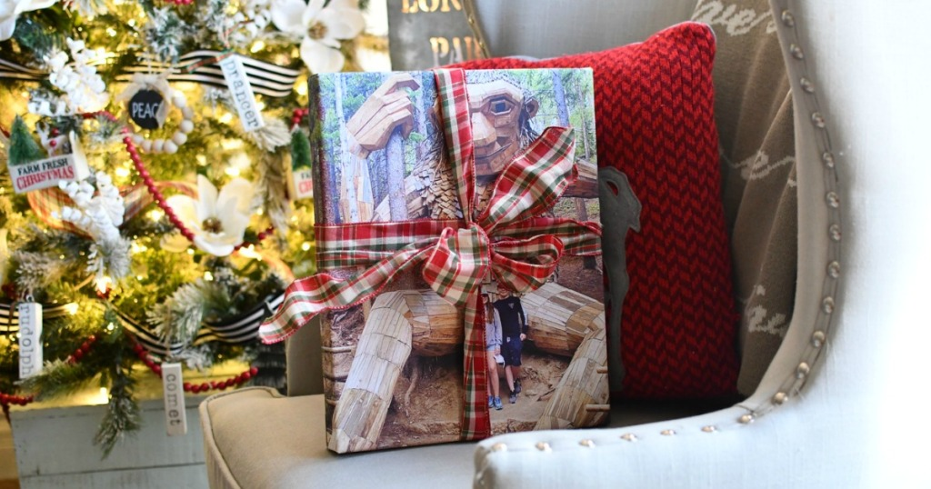 photo canvas wrapped in a holiday bow