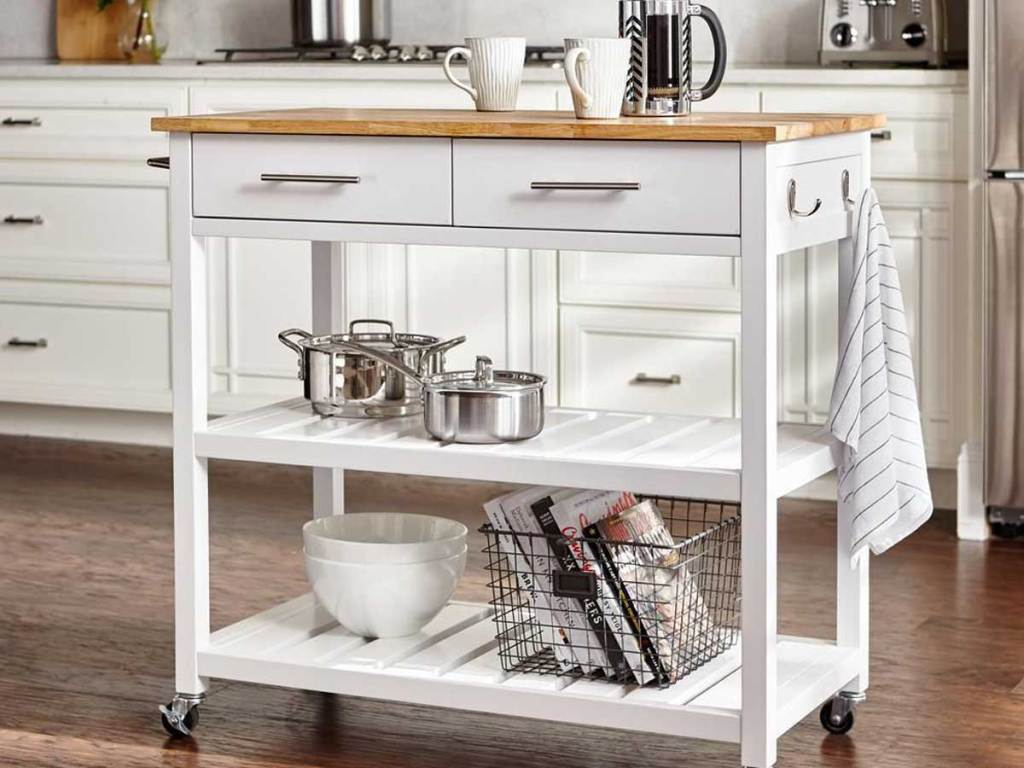 kitchen cart white with 2 drawers and 2 shelves