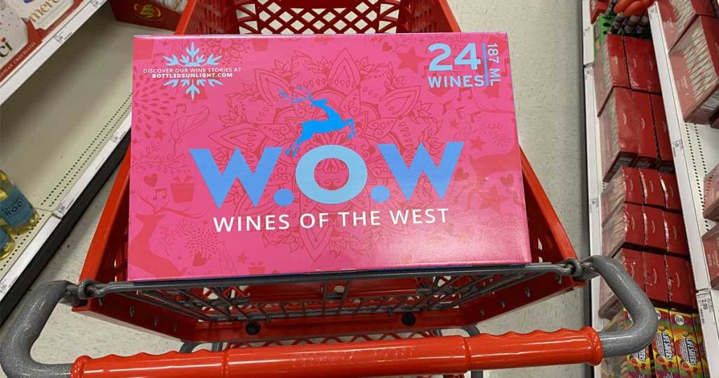 shopping cart with wine advent calendar in it