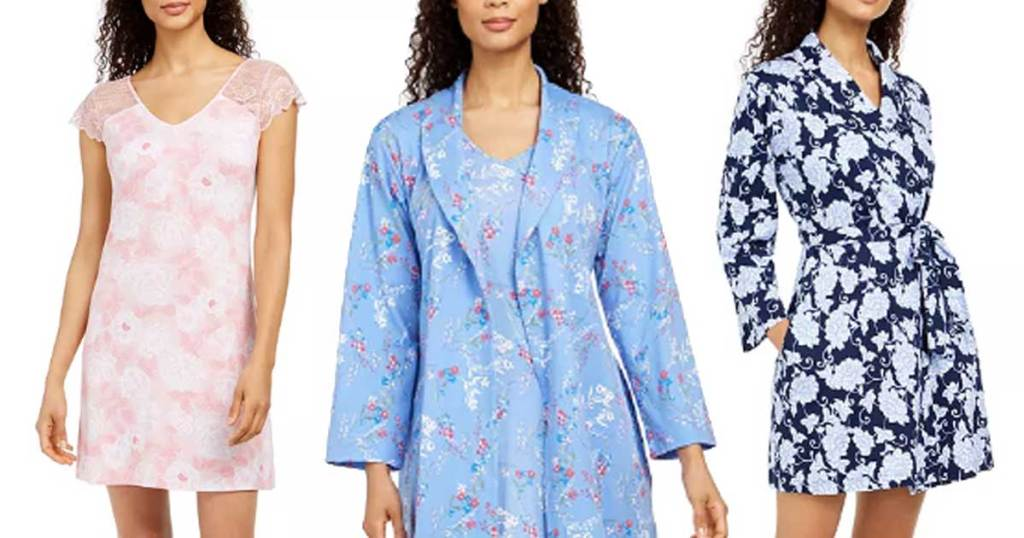 models wearing night gowns and robes